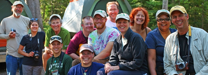 Staff and participants at Little Sand Bay Basecamp in the Apostle Islands