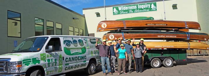 Canoemobile and staff at Wilderness Inquiry's headquarters