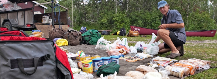 trip food laid out on tarp