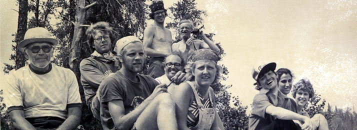 Wilderness Inquiry founders Greg Lais relax with campers in a photo shown in the New York Times in 1979