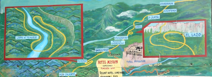 Detailed map of Copper Canyon train ride.