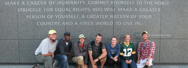 wilderness inquiry staff at Martin Luther King Memorial Washington, DC