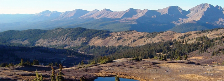 panorama of Colorado's Rocky mountains including the Sawatch, Sangre de Cristo and Elk Mountain Ranges