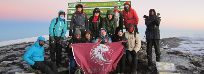 Augsburg College students on the top of Mount Kilimanjaro