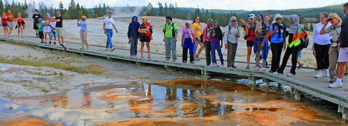 Grand Prismtaic Spring in the Midway Geyser Basin of Yellowstone National Park