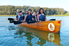 Local youth paddle with Canoemobile on Lake Merced