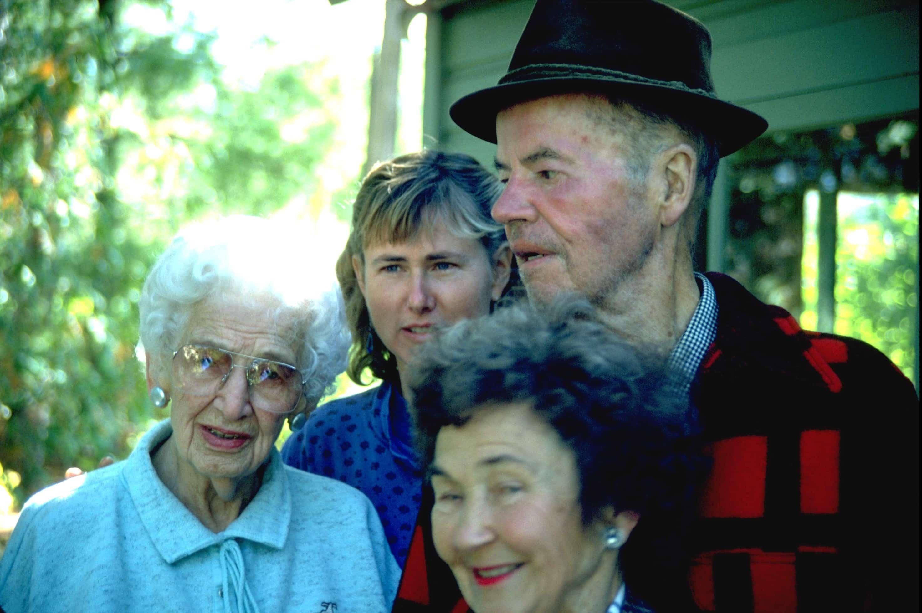 Elizabeth Olson, Liz Matteson, Jane Matteson and Bob Matteson at Sig Olson writing shack.