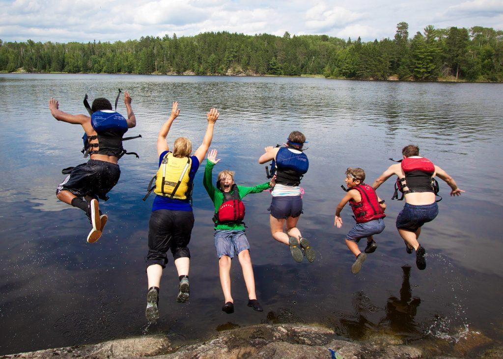 Campers jump into Lake Kabetogama