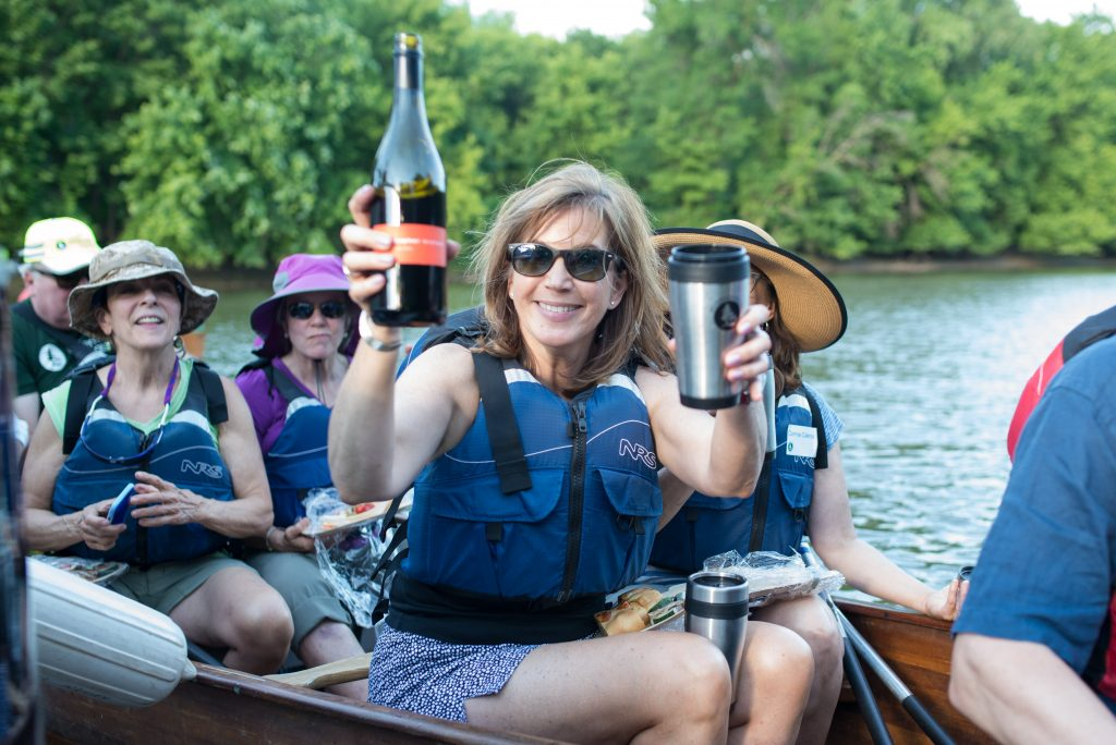 Guests get ready to enjoy more wine on the river