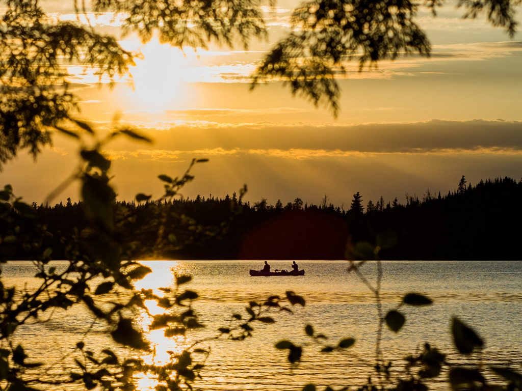 Canoeing the Boundary Waters at dusk