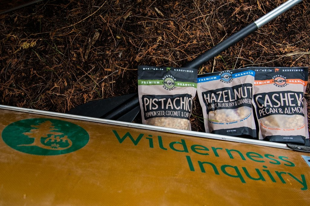 Gustola Granola travels well on a canoeing expedition