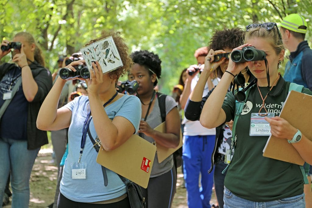 Students look for birds during the Adventures in the City session.