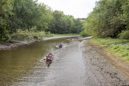 Canoes navigate the back channel