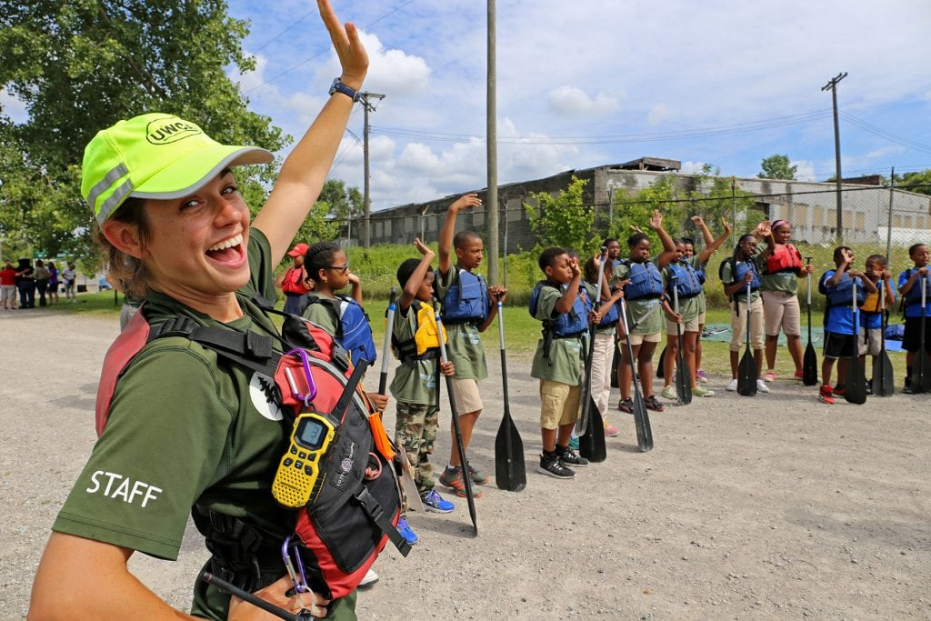 Outdoor leader Adreon Morgan instructs the students