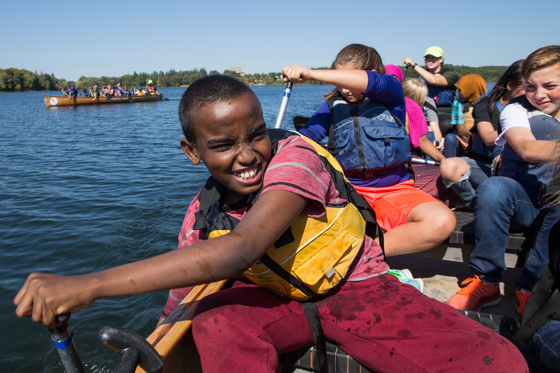 St. Cloud students paddle on Lake Sagatagan