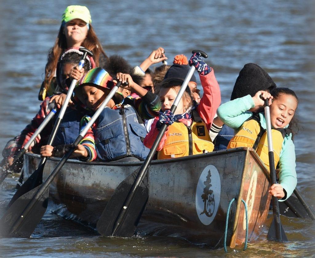 Children paddling near Hopewell, Virginia.