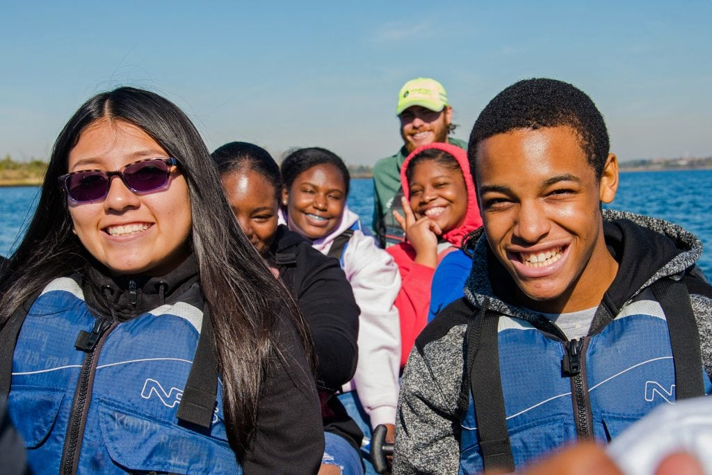 Students make their way through Jamaica Bay.