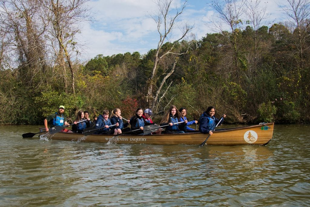 Students paddle the Chattahoochee River