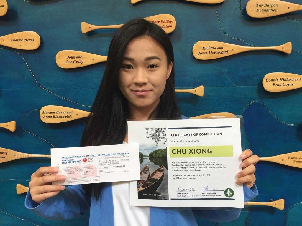 Chu XIong gets her certificates