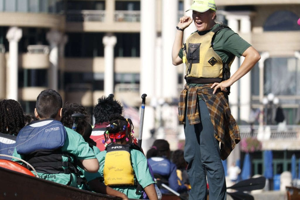 Fourth graders get instruction on paddling