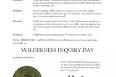 Proclamation by Governor Mark Dayton for Wilderness Inquiry Day.