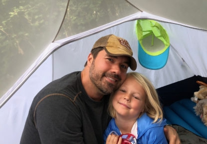 Andy and Clara in tent
