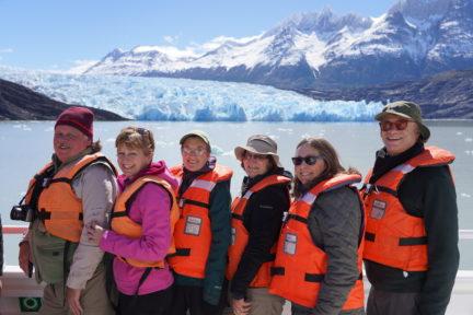 Posing in front of glacier