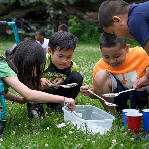 Kids learning outdoors