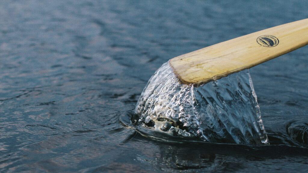 paddling through water
